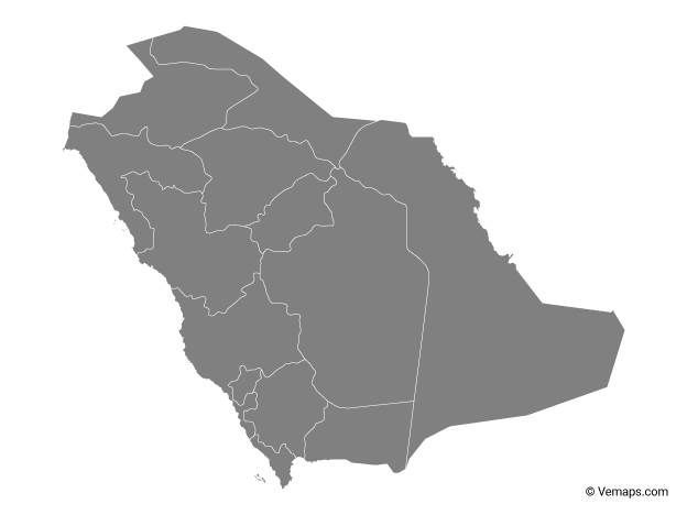 Grey Map Of Saudi Arabia With Regions Free Vector Maps Map Vector Saudi Flag Saudi Arabia