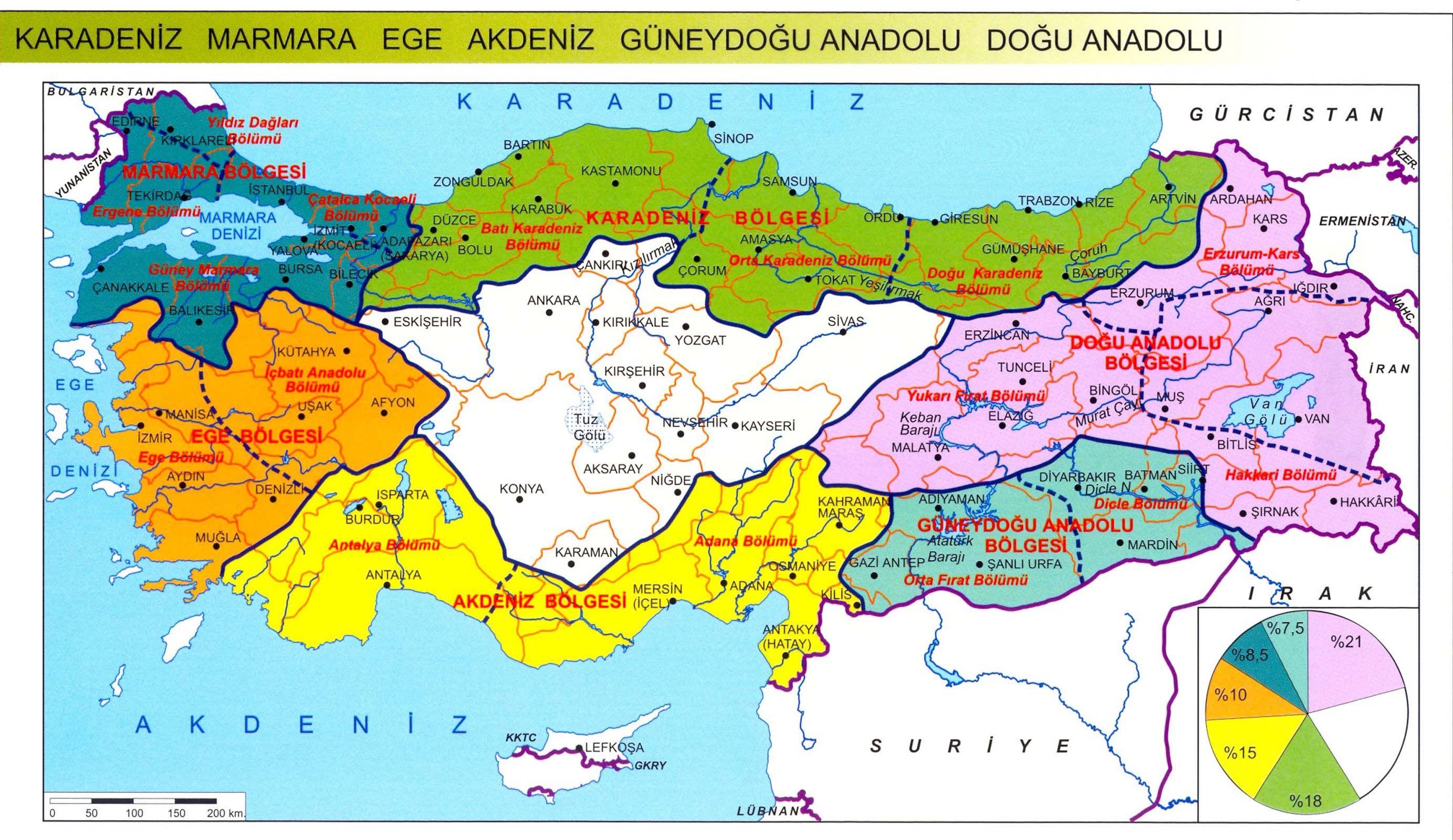 Turkiye Cografi Bolgeler Haritasi Haritalar Harita Turkiye