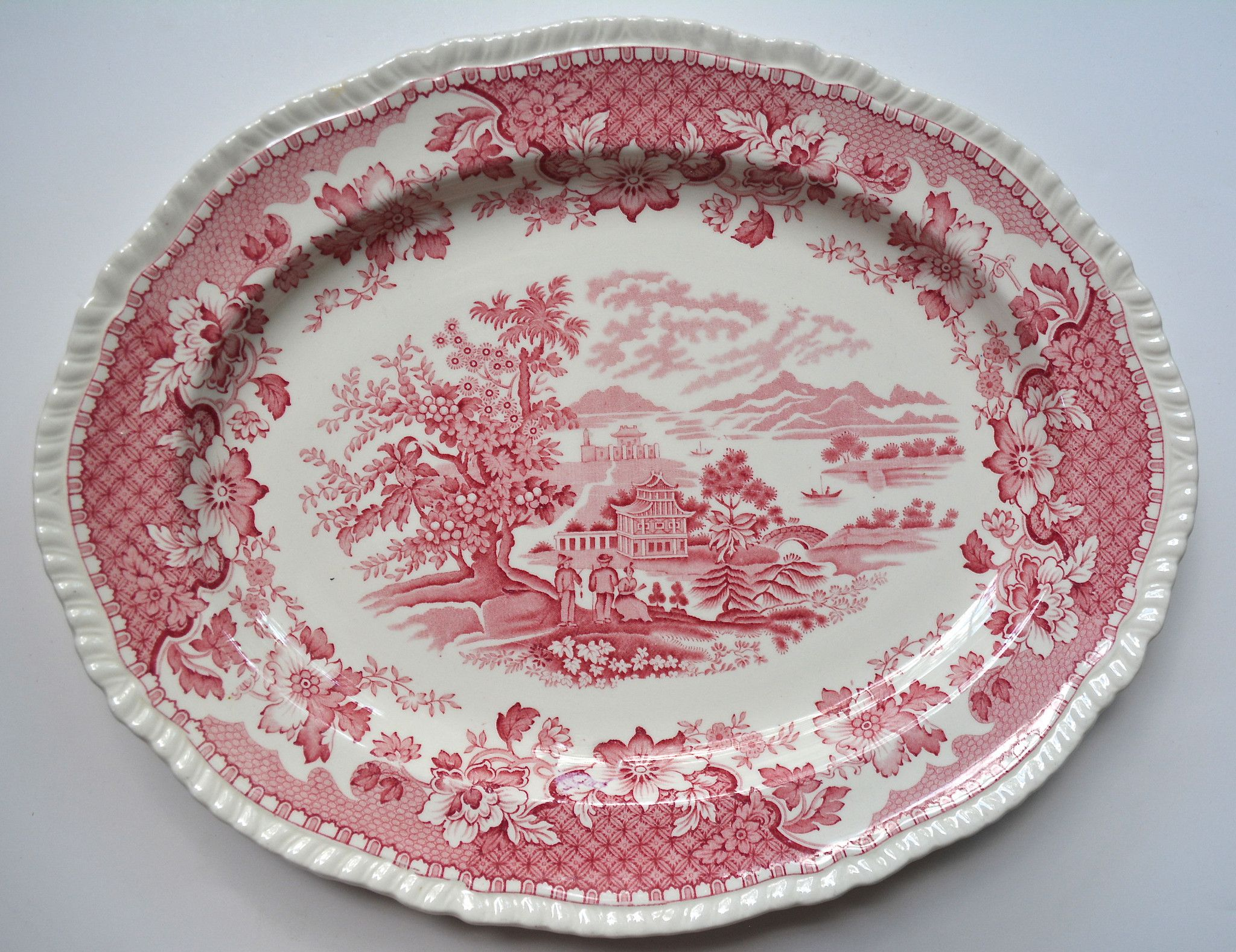 Red Transferware Chinoiserie Platter Wood and Sons Seaforth Seaforth ...