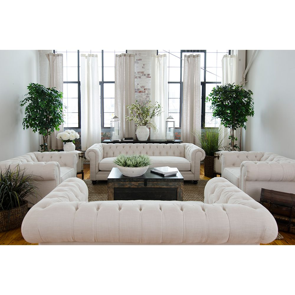 Elements Fine Home Estate Chesterfield Style Fabric Sofa, Loveseat ...