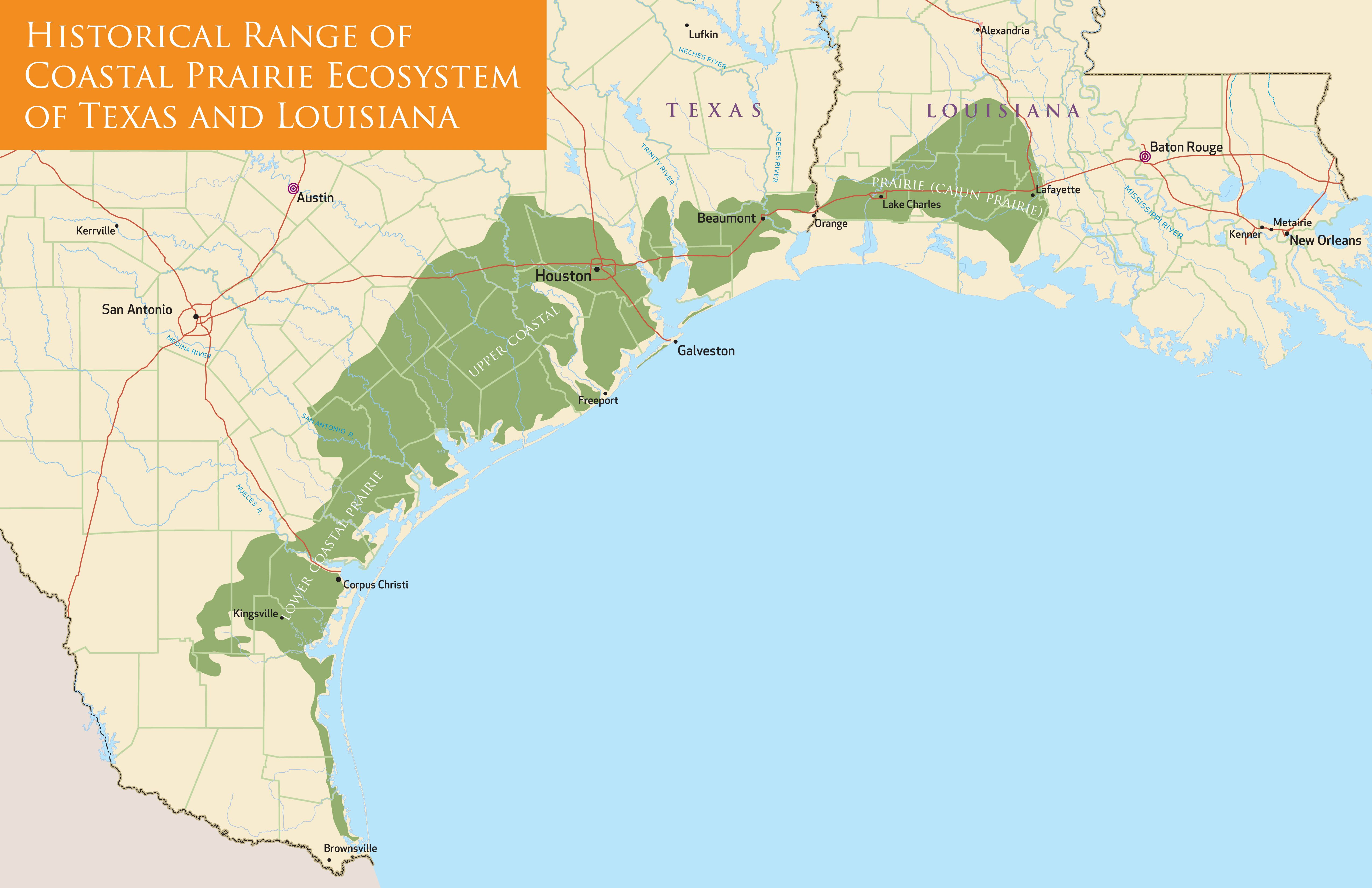 Coastal Prairie Ecosystem Map (TX and LA only) | New Prairie ...