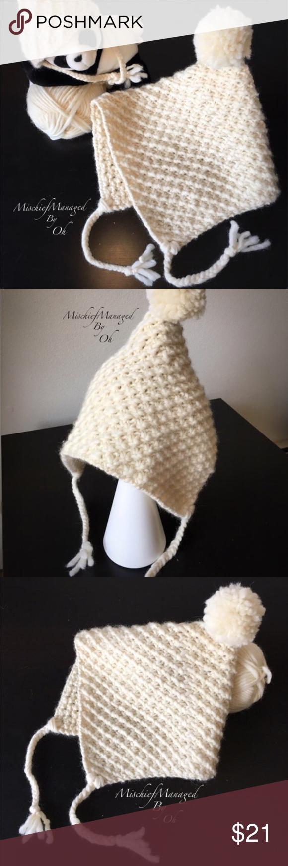 Fashion Winter Beanie Knit Ski Tassels Pom2 NWT