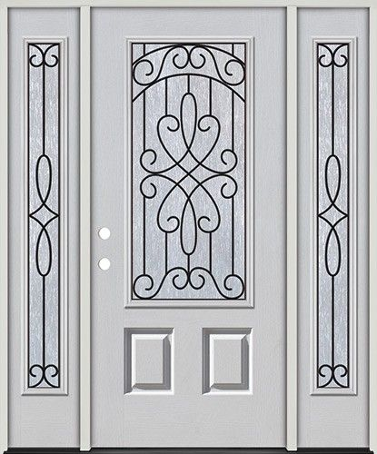 3 4 Lite Fiberglass Prehung Door Unit With Sidelites 279 Prehung Doors Wood Doors Wood Exterior Door