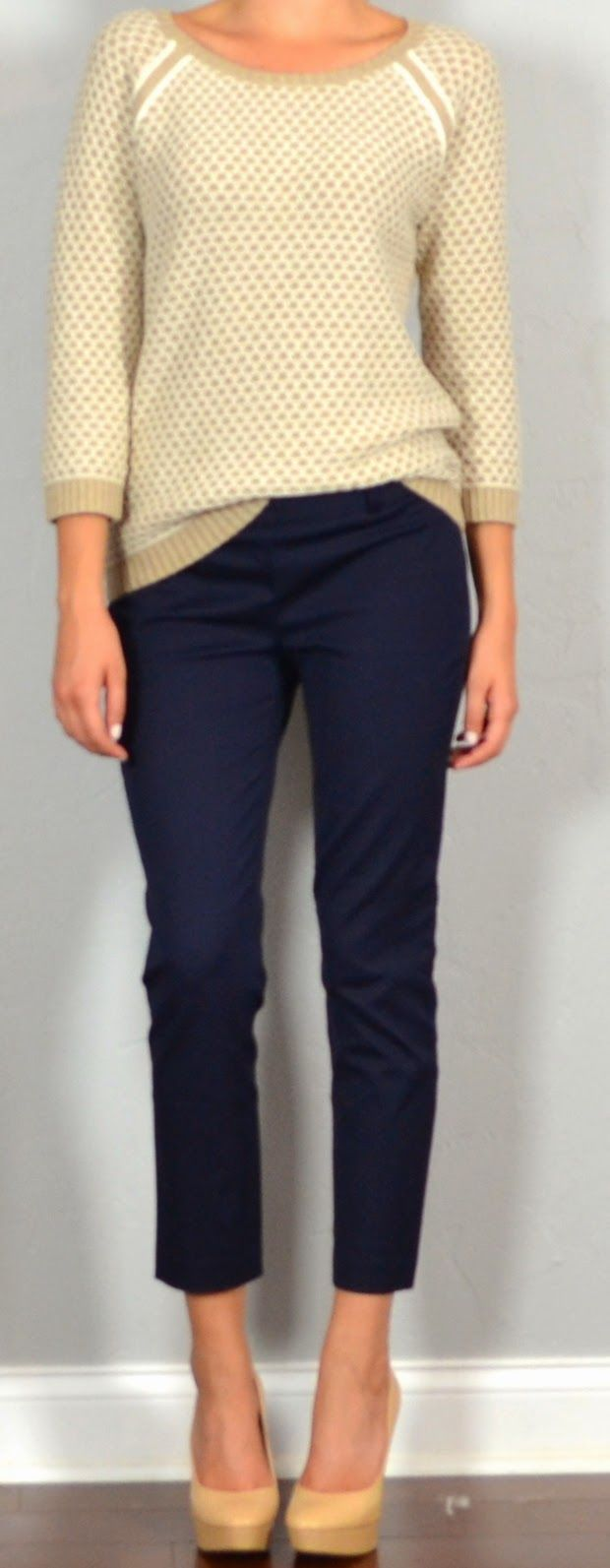 Fall date night outfit: navy pants and a cream sweater. Get more ...