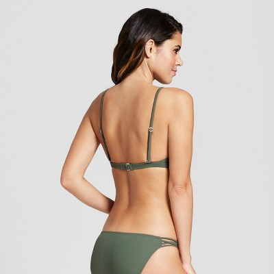 e6e552dcd9098 Women s Ribbed Snap Front Bralette Bikini Top - Xhilaration Olive XS ...