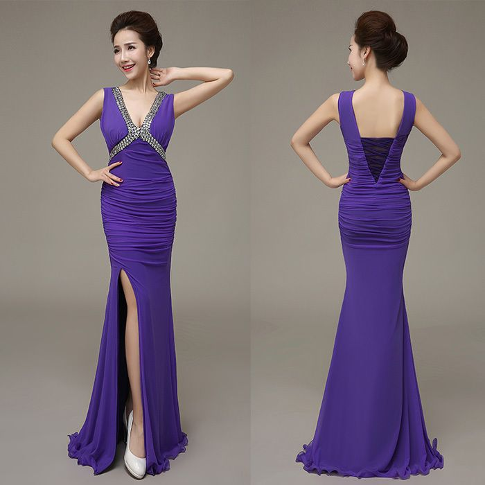 2015 New Sexy V neck Beading Stretchy Tulle Slit Mermaid Party Dresses Long Dress Purple Plus Size Free Shipping-in Evening Dresses from Weddings & Events on Aliexpress.com | Alibaba Group