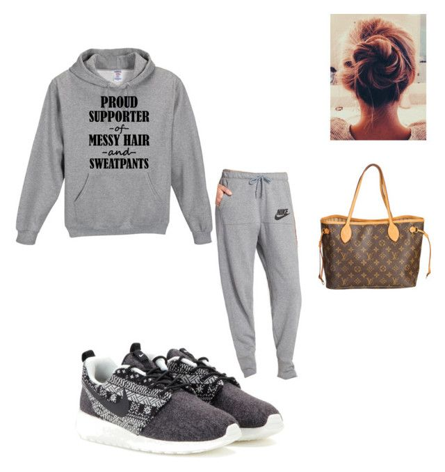 """Lazy Dayout"" by fashionqueen0827 ❤ liked on Polyvore featuring NIKE and Louis Vuitton"