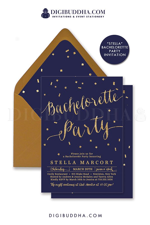 NAVY u0026 GOLD BACHELORETTE Invitation Elegant Bridal