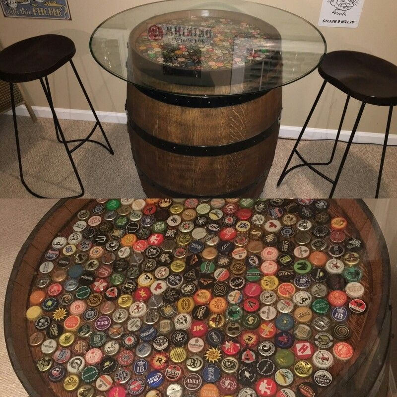 Beer Cap Whiskey Barrel Table Whiskey Barrel Ideas Erova Blog Beercaps Beer Cap Whiskey Barrel Table In 2020 Barrel Table Whiskey Barrel Table Beer Barrel Table
