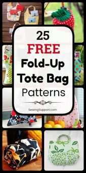 Photo of Free Fold-Up Tote Bag Patterns (25 designs)  Tote Bag Patterns – Fold-up style. …