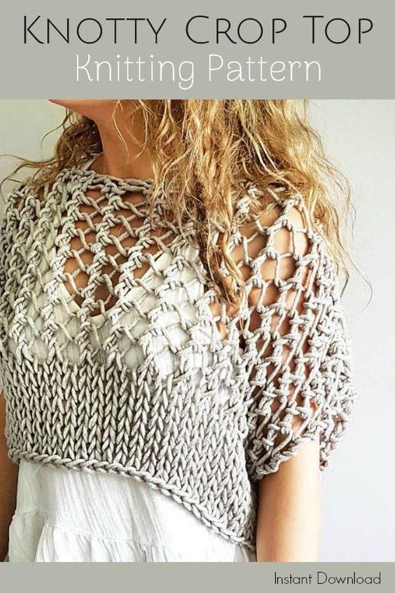 This is sooooo cute! Love x10! Festival Crop Top knitting pattern. Knotty Crop T...  #Crop #Cute #festival #knitting #knotty #love #pattern #sooooo #Top #x10