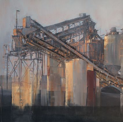 """""""Slide""""  old concrete company in San Pedro area- Urban oil painting by artist April Raber"""