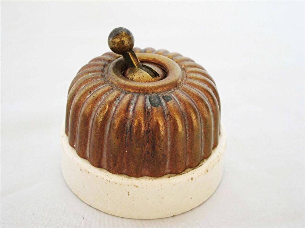 Edwardian Antique 1900s Jelly Mould Light Switch Brass White Ceramic Base B Ceramic Base Jelly Mould Light Switch