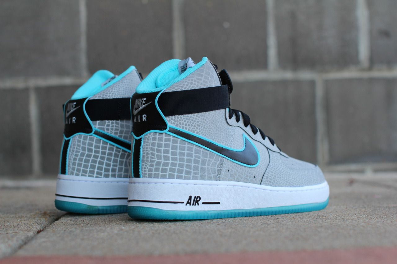 Nike Air Force 1 Black Turquoise Blue White