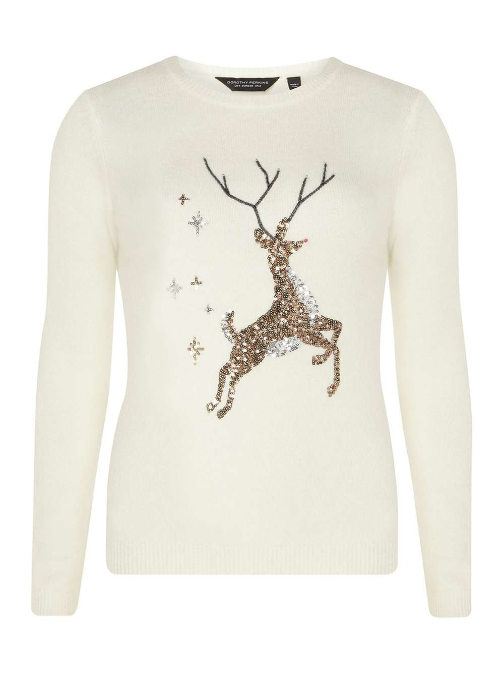 Cream Sequin Reindeer Christmas Jumper - View All New In - New In ...