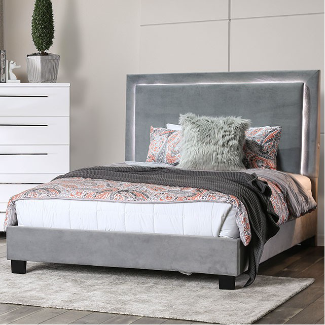 Erglow Ultra Plush Gray Upholstered Platform Bed with
