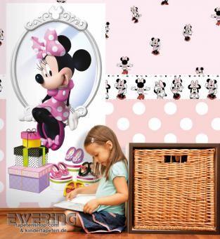 Minnie Maus ganz in Rosa nun als Bordüre, Tapete oder Wandbild ...