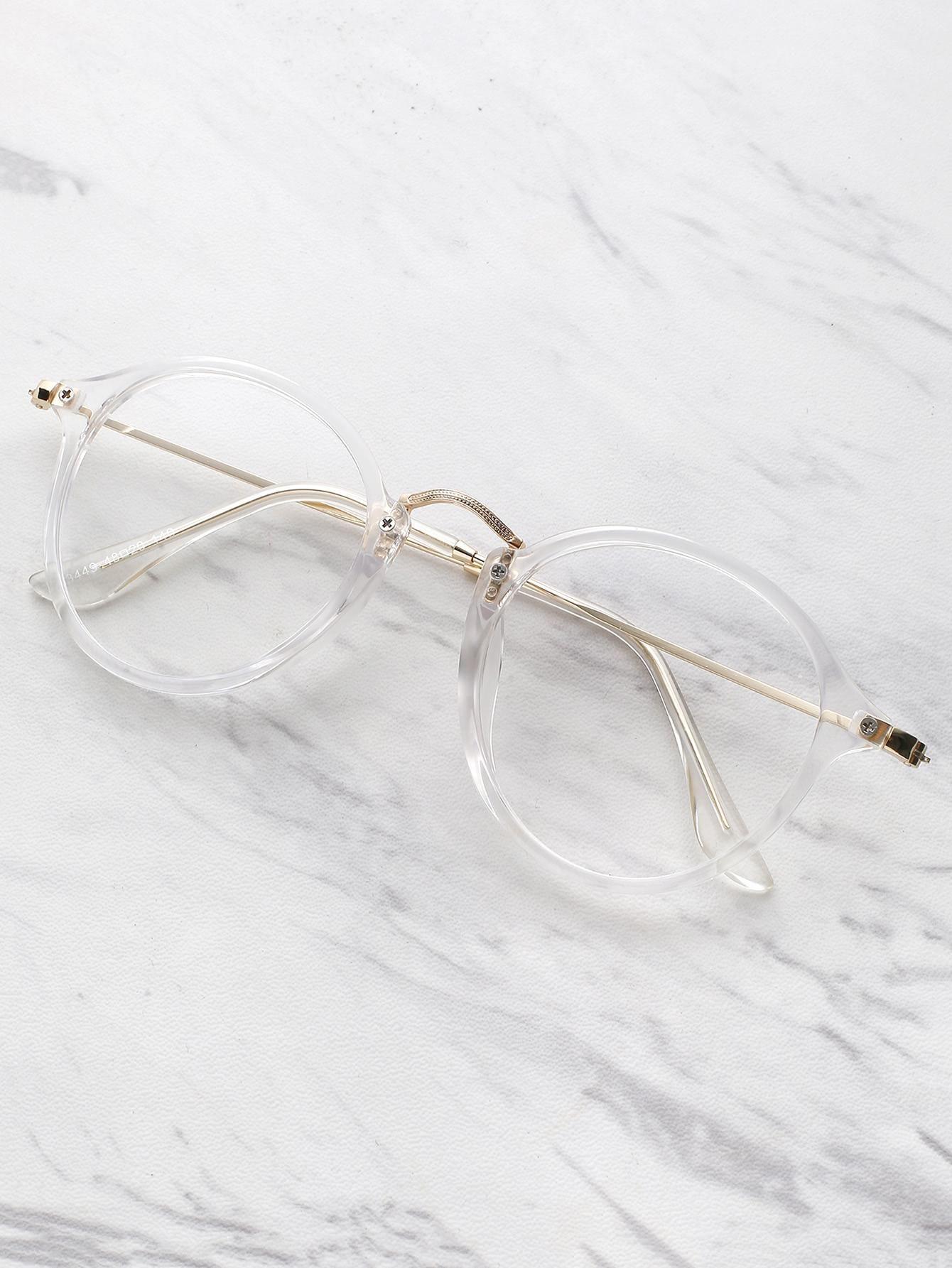 Shein Shein Transparent Frame Metal Top Bar Glasses Adorewe