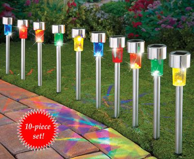 Solar Led Stainless Steel Pathway Lights 10 Pc Solar Pathway Lights Solar Lights Garden Solar Patio Lights