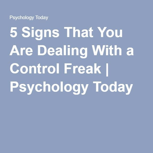 why are people control freaks