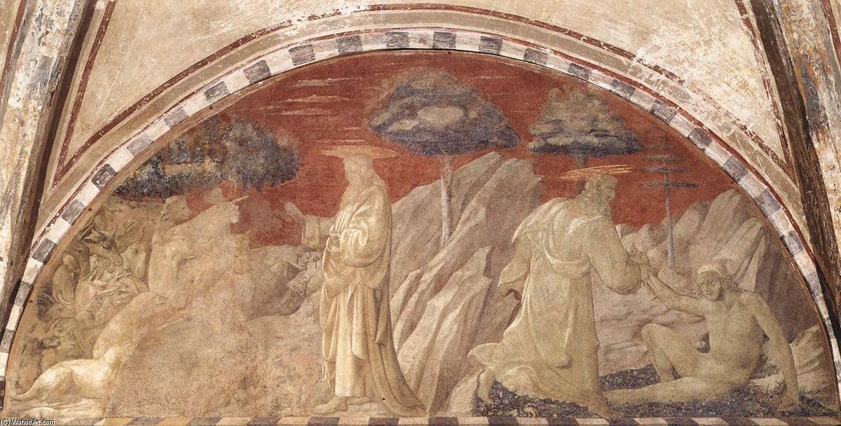 'creación de el animales y creación de Adán', frescos de Paolo Uccello (1397-1475, Italy)
