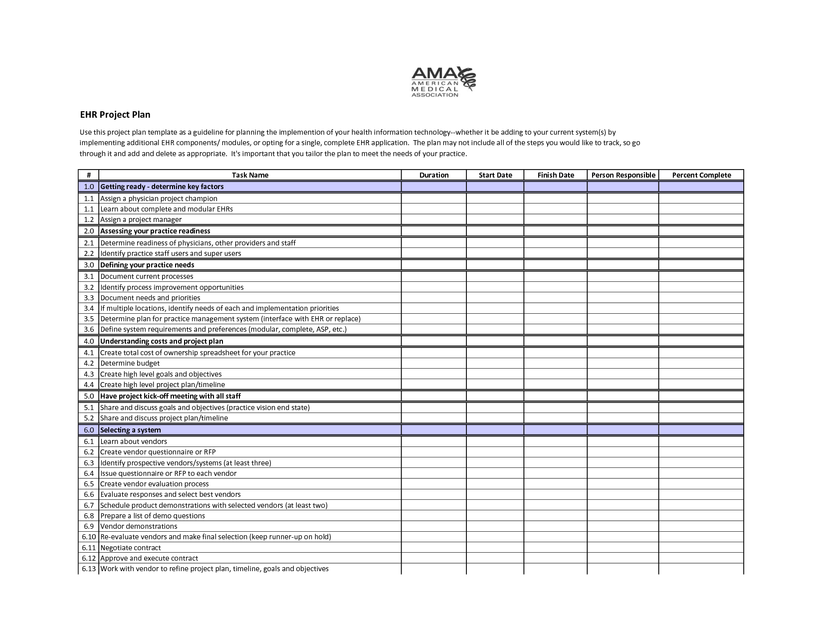Sample Project Plan Template  Ehr Project Plan Template  Self