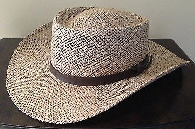 9d231a489aba9 New Mens Stetson Pinto Straw Hat Summer Seagrass Outdoorsman Wheat Sz L XL