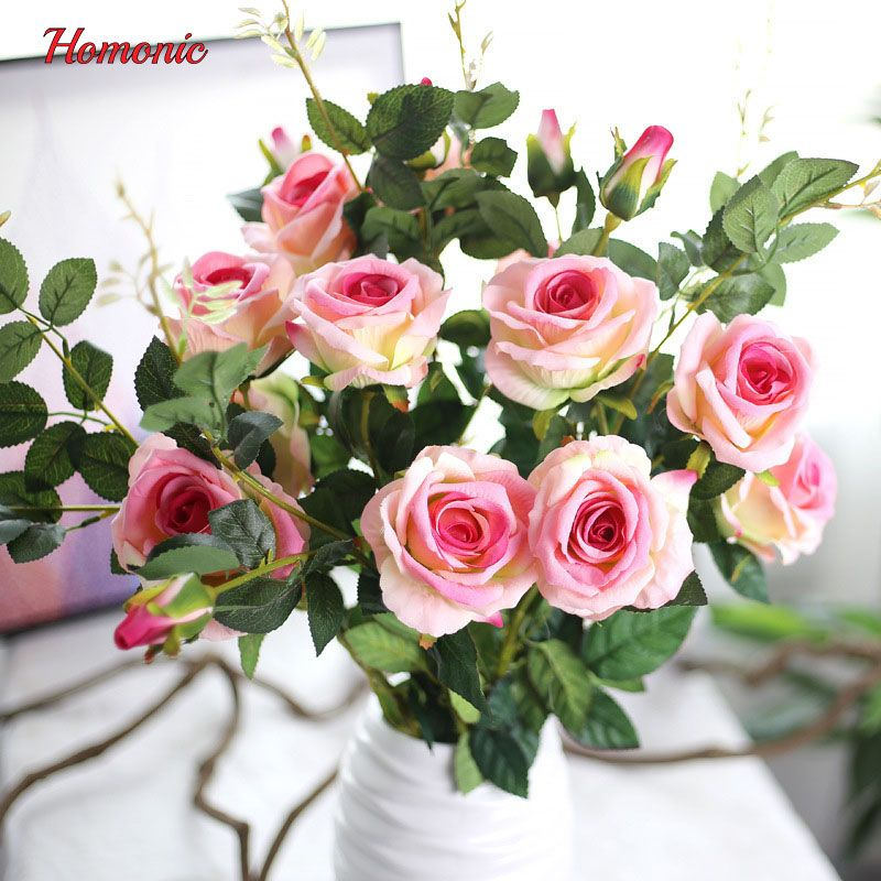 Artificial  Rose 5 pcs 3 head rose bud flower head DIY Silk Flower for Party Home Wedding Holiday Decoration 4 Colours