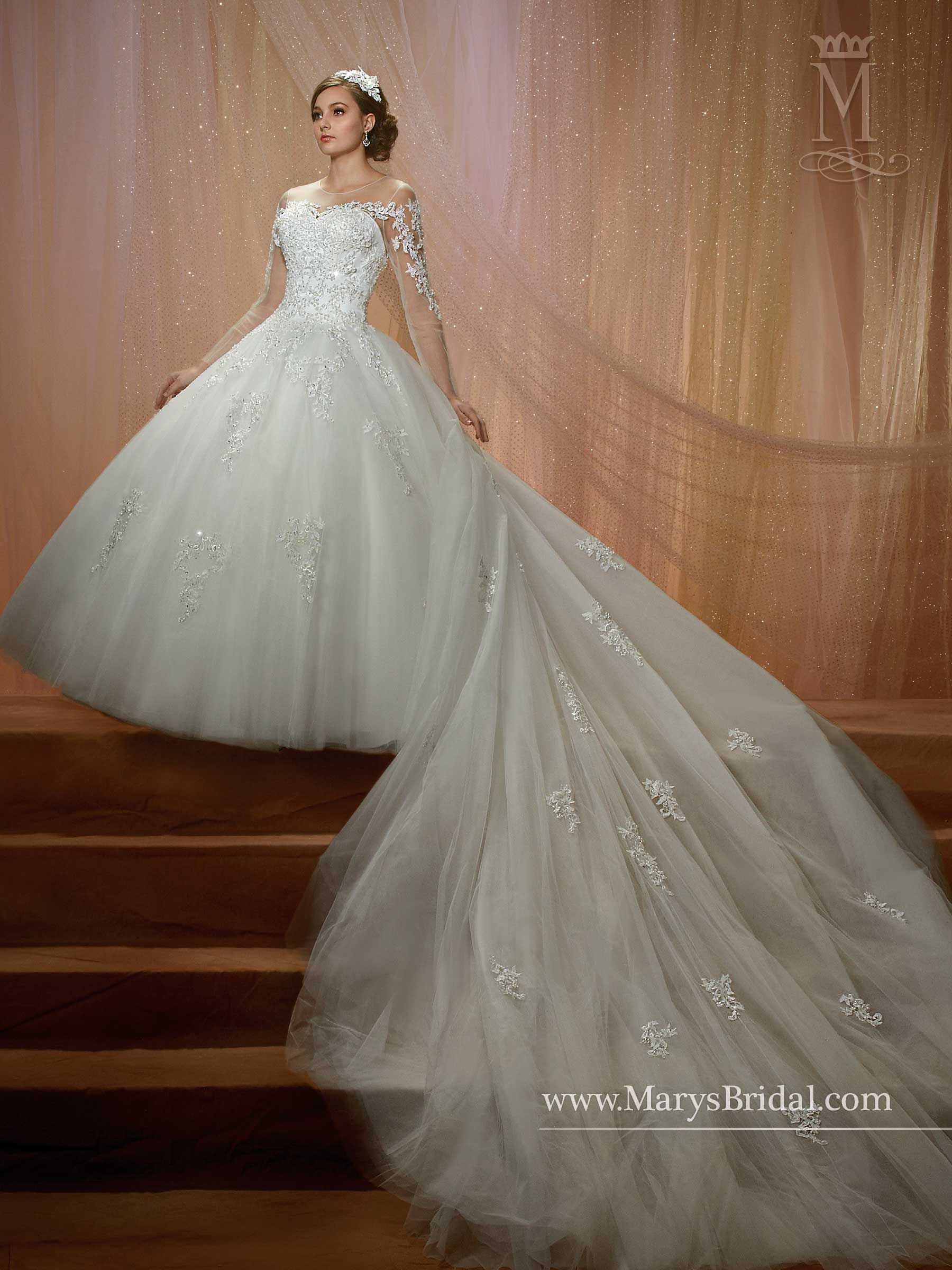 Style F16 6462 858 00 Best Bridal Prices Com Tulle And Lace Ball Gown With Illusion Scoop Neckline Back Ons Long Sleeves