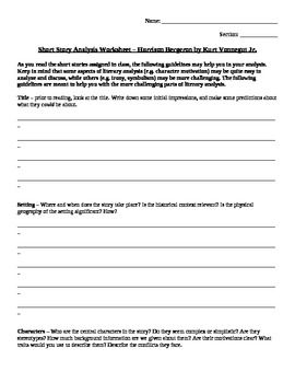 short story analysis worksheet harrison bergeron by kurt  short story analysis worksheet harrison bergeron by kurt vonnegut jr