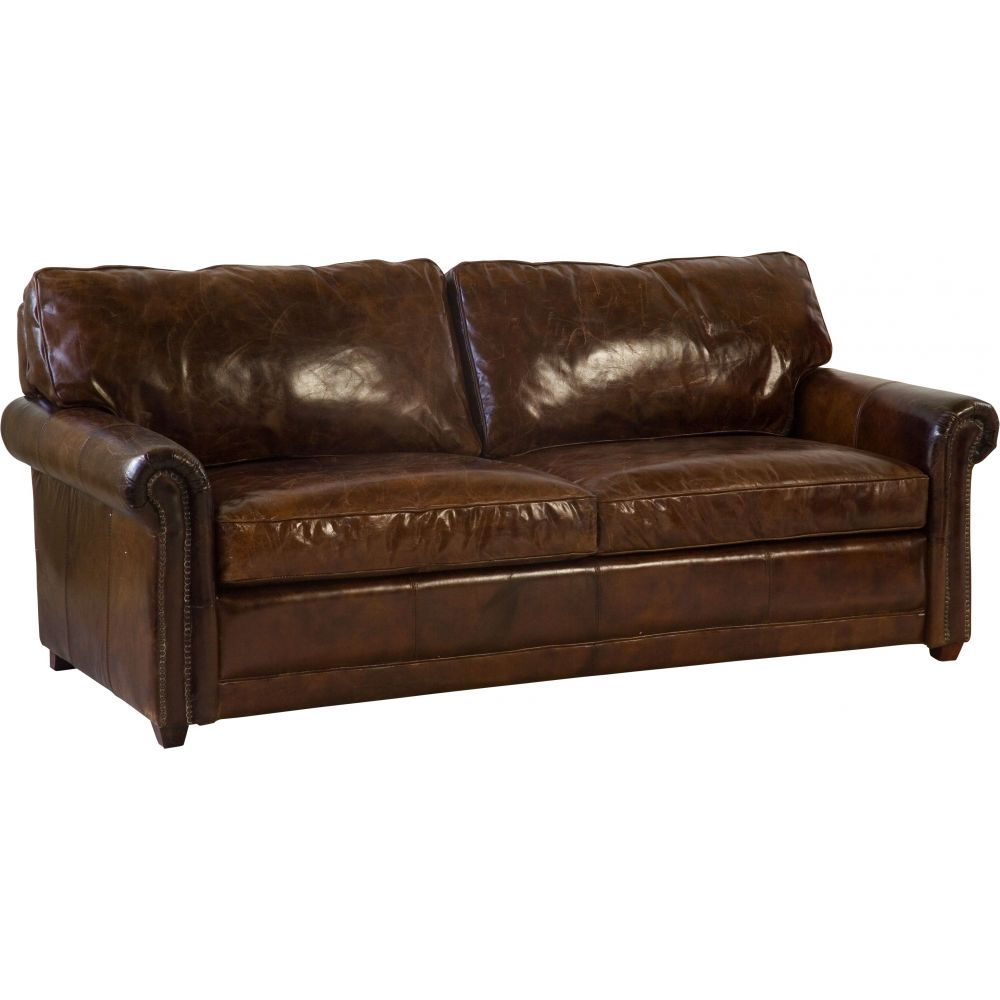 Charmant Oregon 3 Seater Leather Sofa Bed, Vintage Cigar