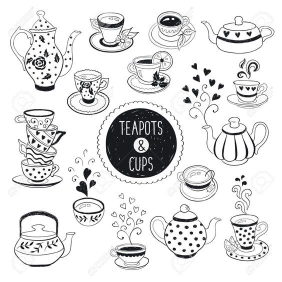 Hand Drawn Teapot And Cup Collection Doodle Tea Cups Coffee Doodles Tea Pots Hand Lettering