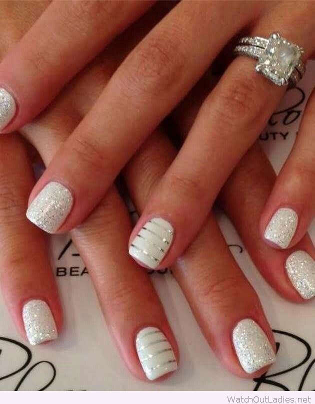 White And Glitter Christmas Nails Wedding Nails Design Fun Manicure Trendy Nail Design