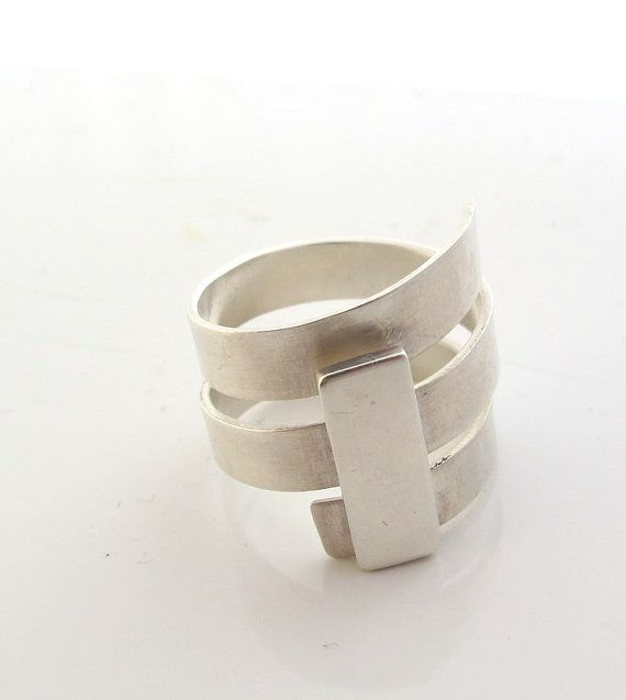 Silver Wide Band Ring geometric modern cool everyday by ZizouArT