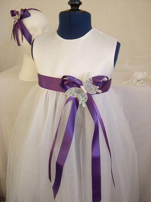16fe3e9127a Cadbury Purple Satin Ribbon Butterfly Sash Flowergirl Cadbury Purple  Bridesmaid Dresses