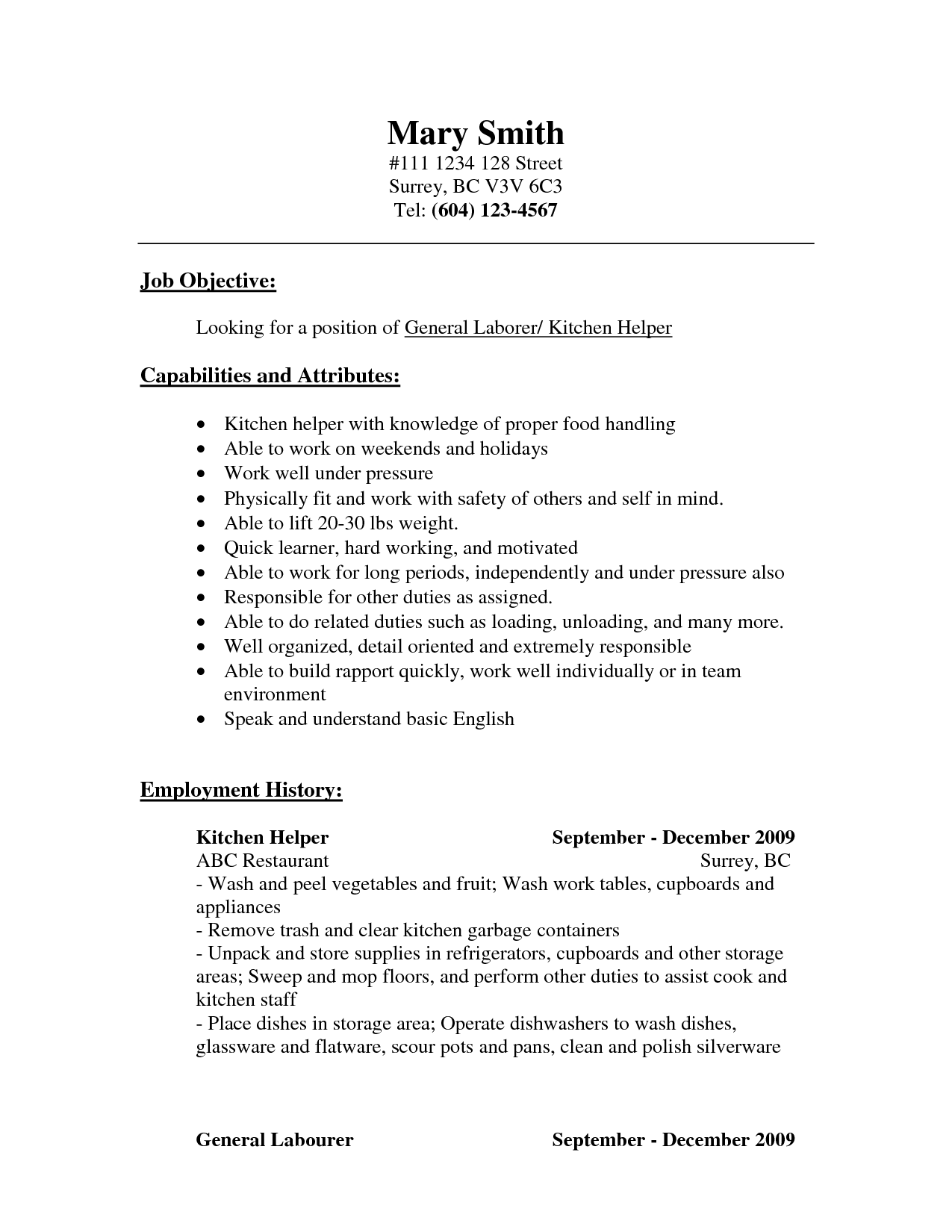 Sample Resume For Cook Position Resume Examples Kitchen Helper  Pinterest  Resume Helper Letter .