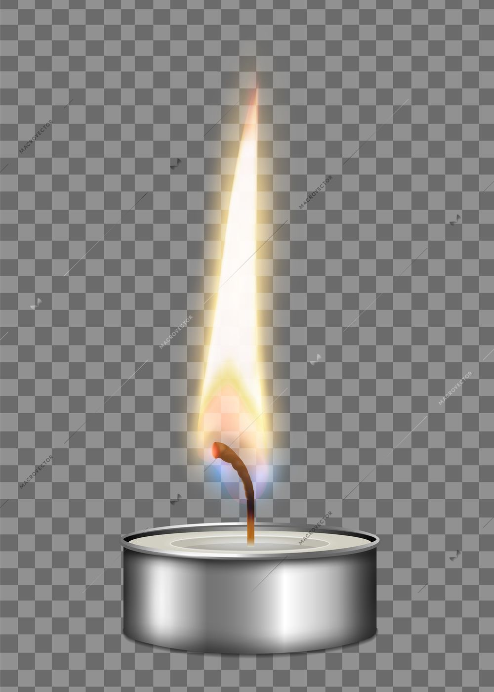 Colored Realistic Candle Metal Case Flame Fire Light Composition On Transparent Background Vector Illustration Realistic Candles Candle Fire Candle Flames