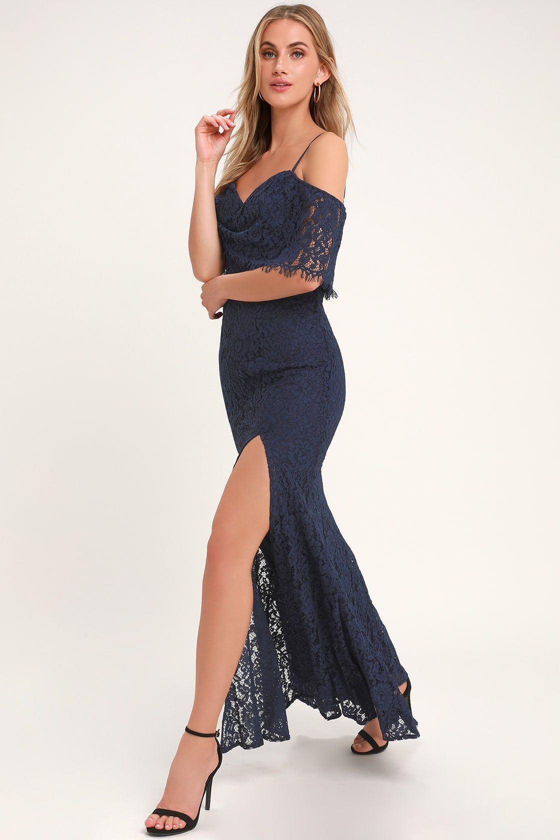 6720bc0a7308 Lulus | Caterina Navy Blue Lace Off-the-Shoulder Maxi Dress | Size ...
