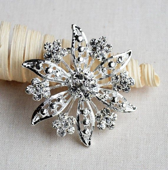 Rhinestone Brooch Component 2 Crystal Flower Bridal Hair Comb Shoe Clip Pin Wedding Cake Decoration #bridalhairflowers