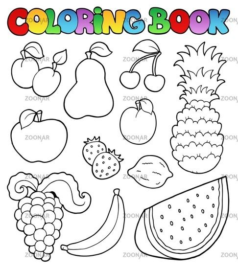 Fruits Coloring Book And Vegetables Pictures Peach Fruits For