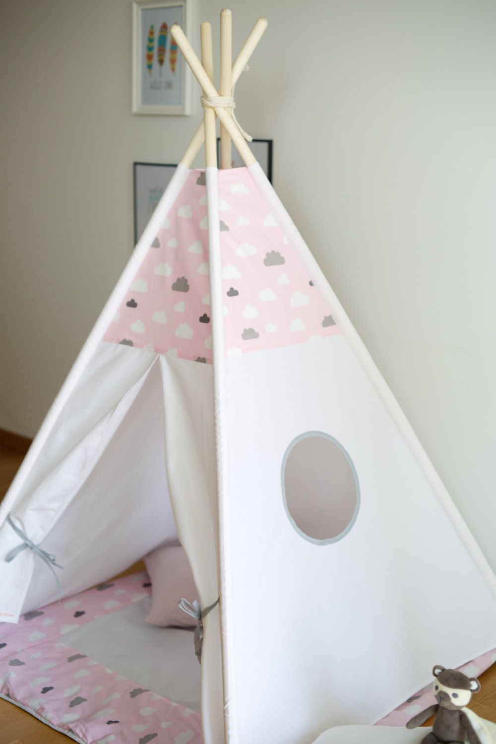 Dreamy pink cloud kids teepee play tent wigwam with a padded floor play mat  by WigiWama