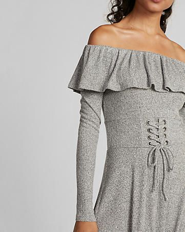 off the shoulder ruffle corset waist fit and flare dress
