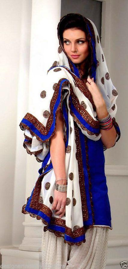 e2f579c1c4 Punjabi Patiala Salwar Kameez Bollywood Designer Indian Embroidery Bridal  suit