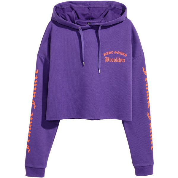 Short Hooded Top $17.99 ($18) ❤ liked on Polyvore featuring tops, hoodies, purple long sleeve top, long short sleeve tops, short tops, purple hoodies and lightweight hoodies