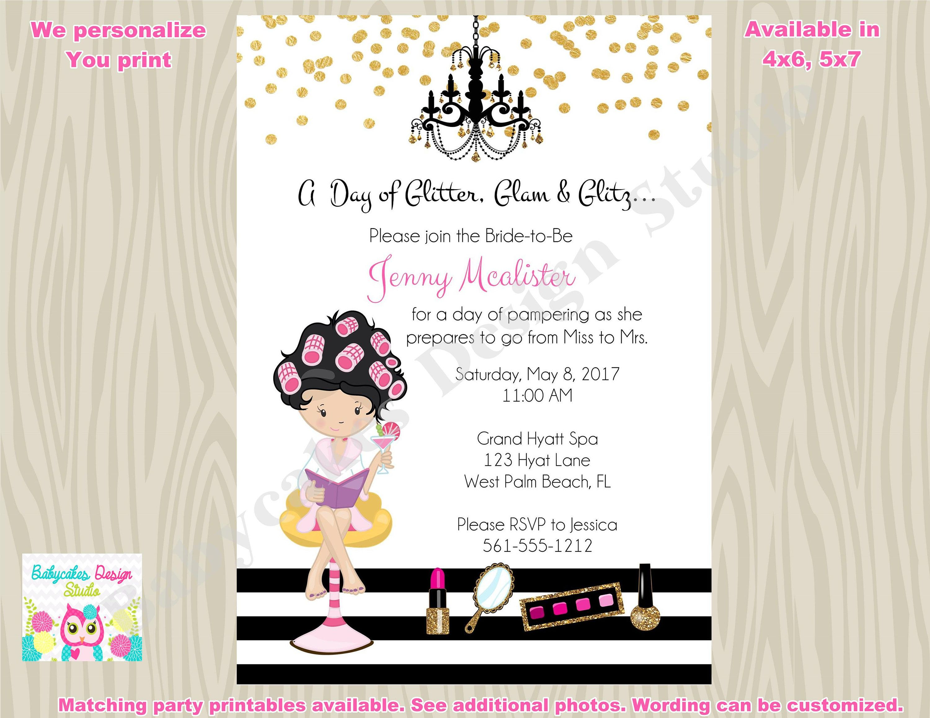 bridal shower invitation bridal party spa day invitation spa party