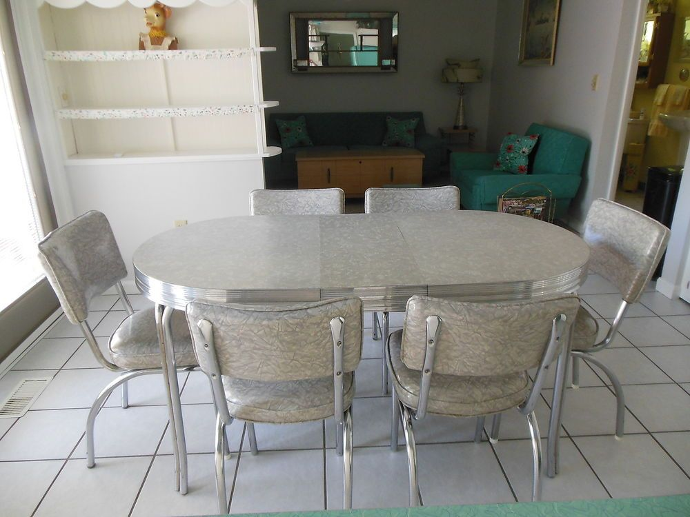 Vintage 1950 S Gray Cracked Ice Kitchen Table W Leaf 6 Chairs