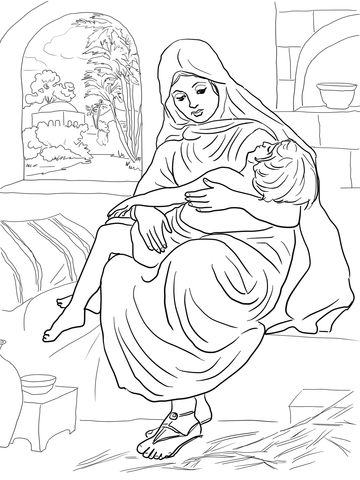 Shunammite Woman And Her Son Coloring Page Bible Coloring Pages