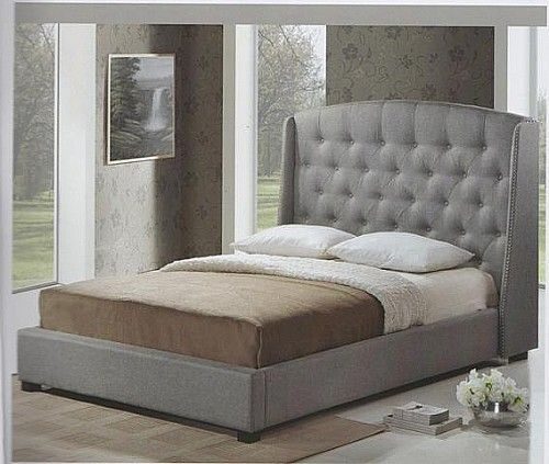 Best Chesterfield Winged Bed Frame Grey Upholstered Bed 400 x 300