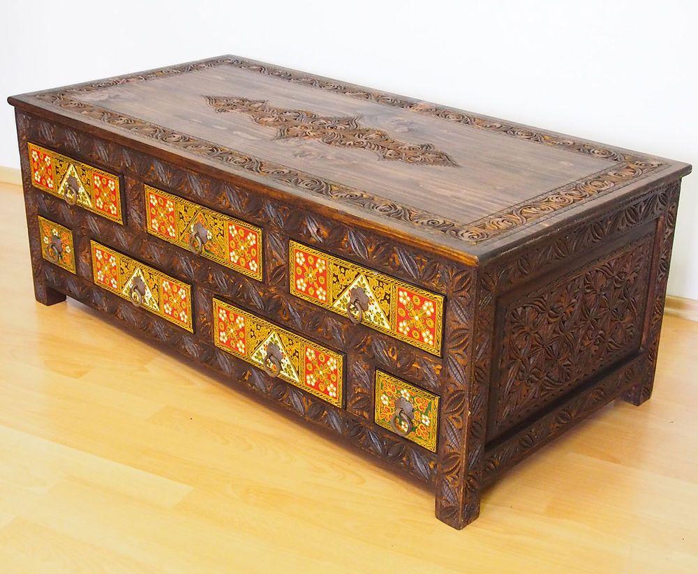 120x60 Cm Antik Look Handgeschnitzte Wohnzimmertisch Tisch Truhe Couchtisch   M A