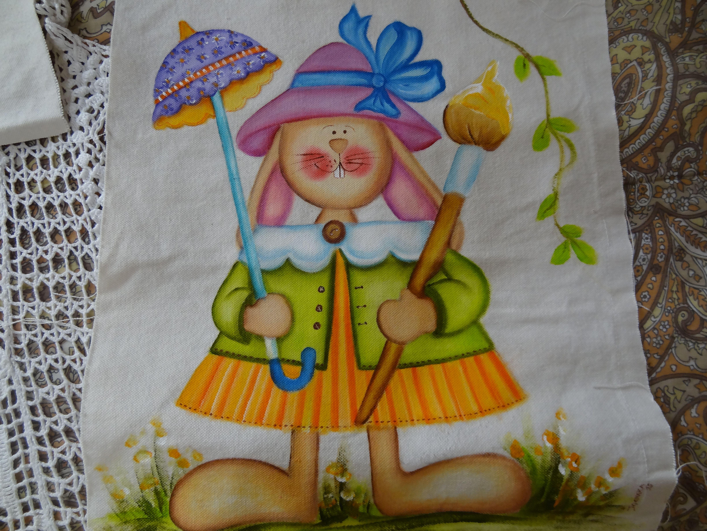 Panô de páscoa em algodão crú e tintas de tecido. Por Joenara. Páscoa 2015